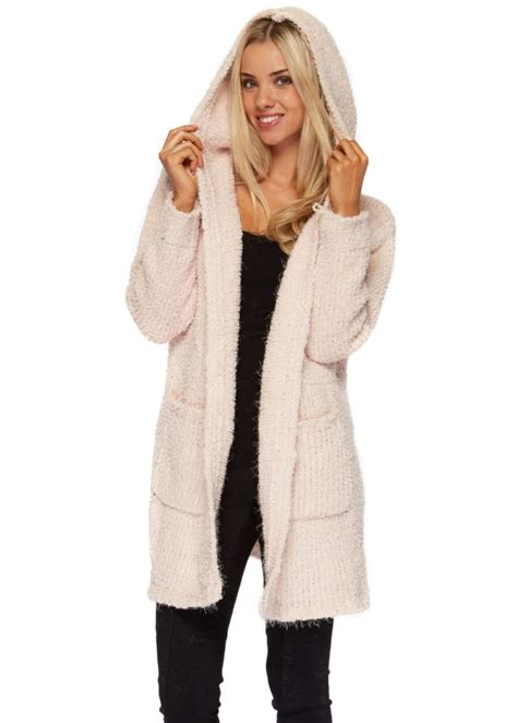 Baby Pink Hooded Cardigan Coat - Pink Cosy Knitwear