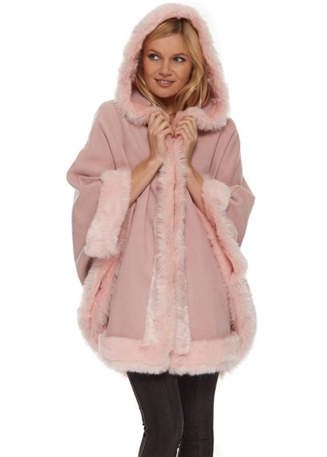 R&J Pink Poncho | Pink Faux Fur cape | Hooded Pink Cape